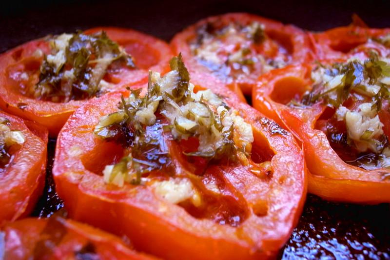 Provencal tomatoes, up close