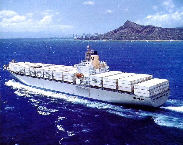 R.J. Pfeiffer container ship rounding Diamond Head on the island of Oahu, Hawaii