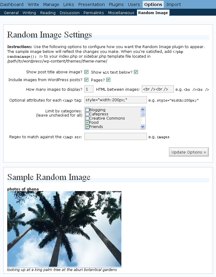 Random Image plugin for WordPress' configuration interface