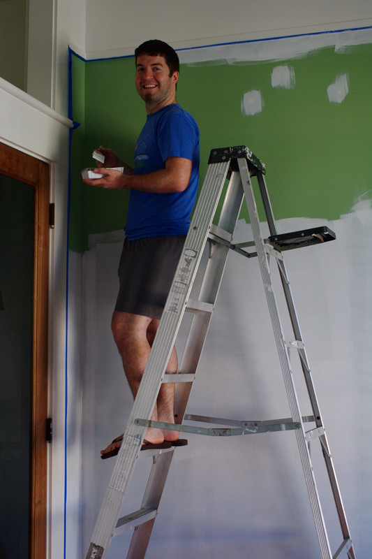 Justin painting the primer trim