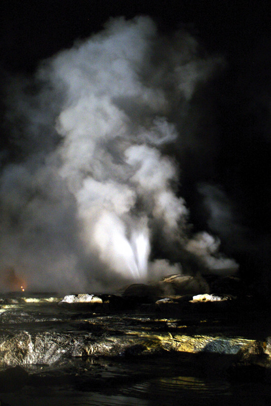 Pohutu Geyser at night, pre-eruption