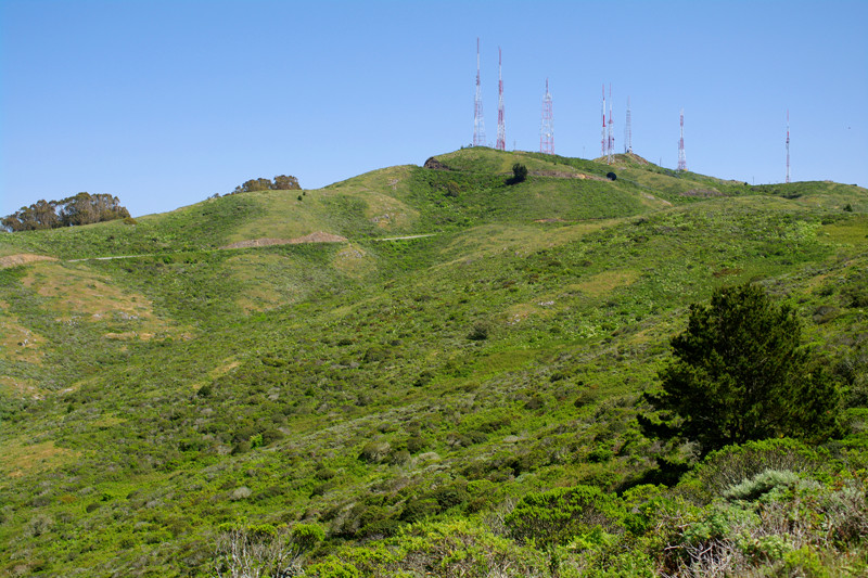 San Bruno Mountain peak with antennas