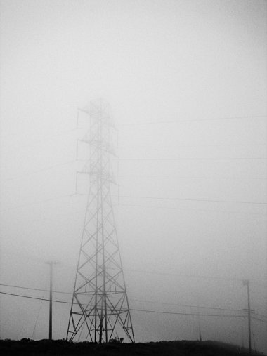 San Bruno Mountain State Park power lines in the fog