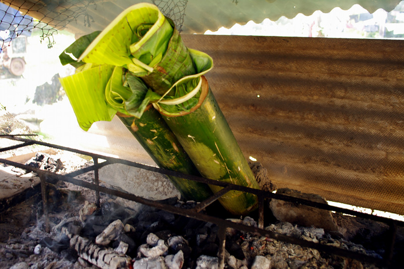 Binakol na manok in bamboo sitting over coals