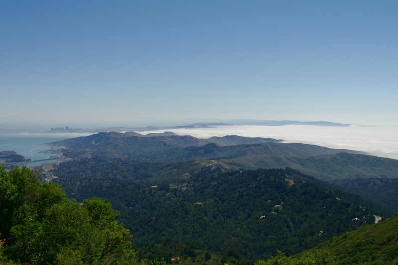 View of San Francisco and the fog from Mt Tamalpais