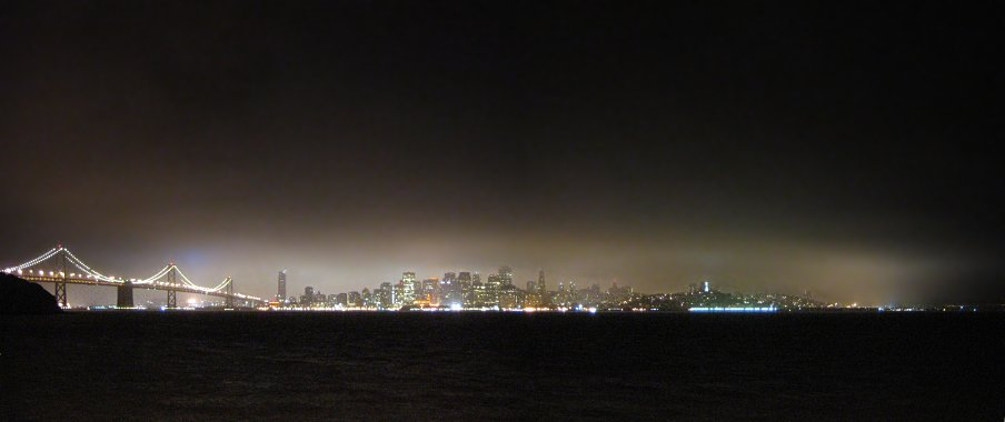 San Francisco at night from Treasure Island panorama