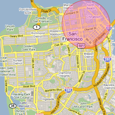 San Francisco County with a 1.5 mile radius circle