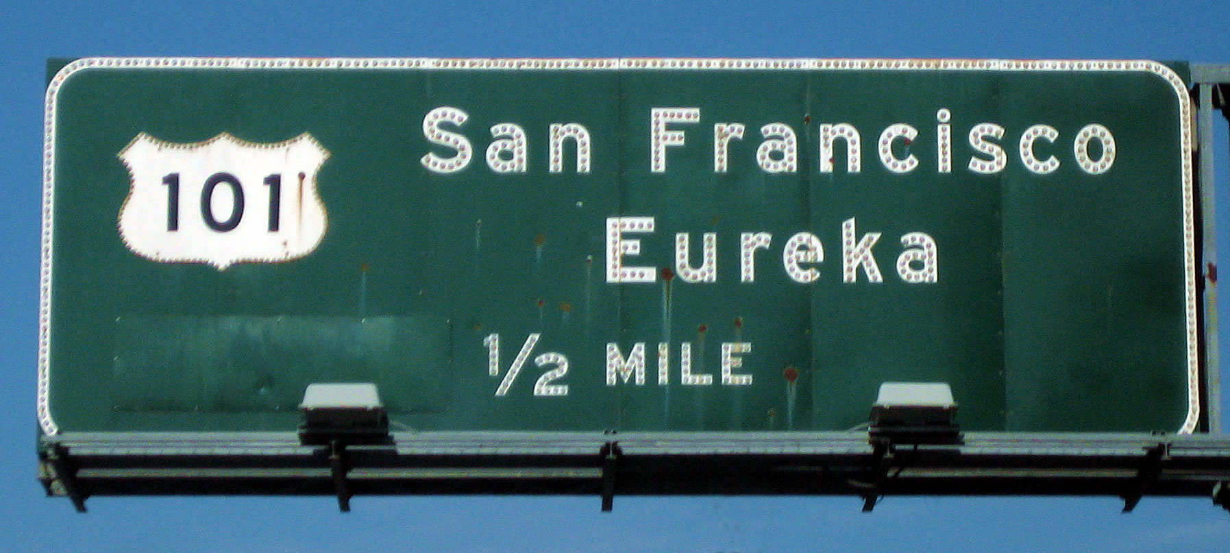 San Francisco, Eureka highway sign