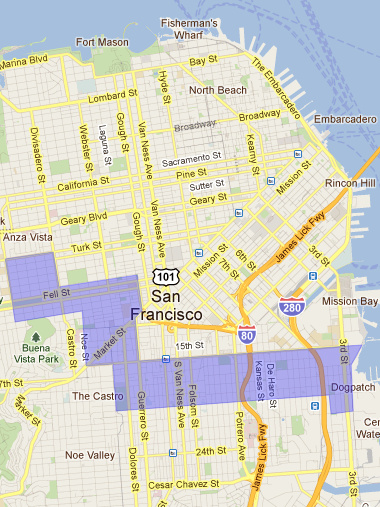 San Francisco map of neighborhoods we were looking in for our real estate search