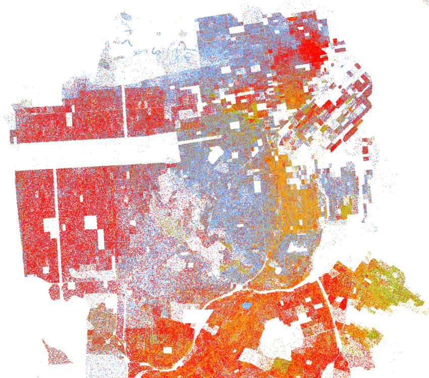Racial Dot Map of San Francisco, by Dustin A. Cable