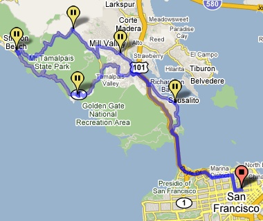 Route from San Francisco to Muir Beach to Stinson Beach to Mill Valley to Sausalito and back to San Francisco