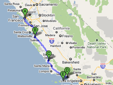 San Francisco to Salinas to San Luis Obispo to Ventura to Channel Islands map