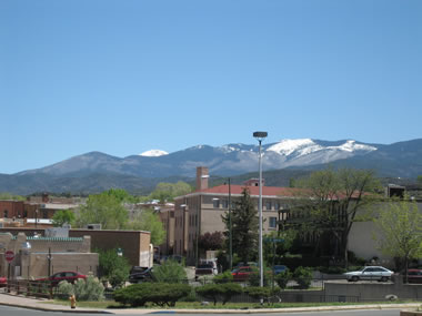 view of mountains from old santa fe inn