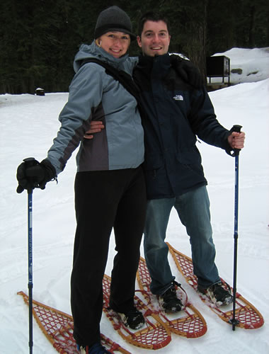 Justin and Stephanie in snowshoes