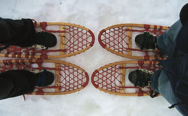 Displaying our Michigan beaver-tail snowshoes