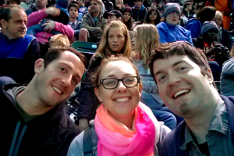 Matthew, Stephanie, and Justin at a Giants game in SF