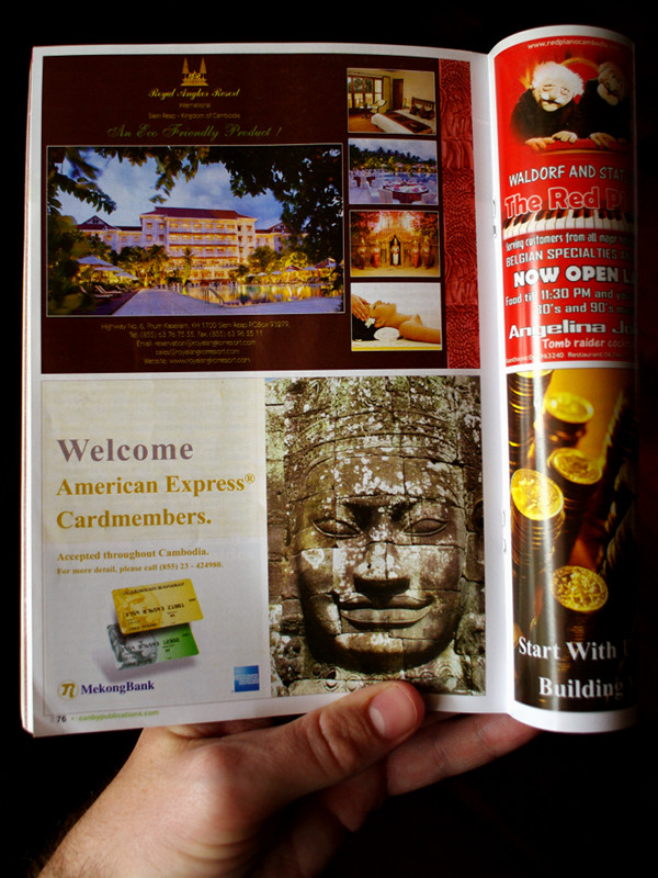 Siem Reap Angkor Visitors Guide, 36th edition, open to MekongBank ad on page 76