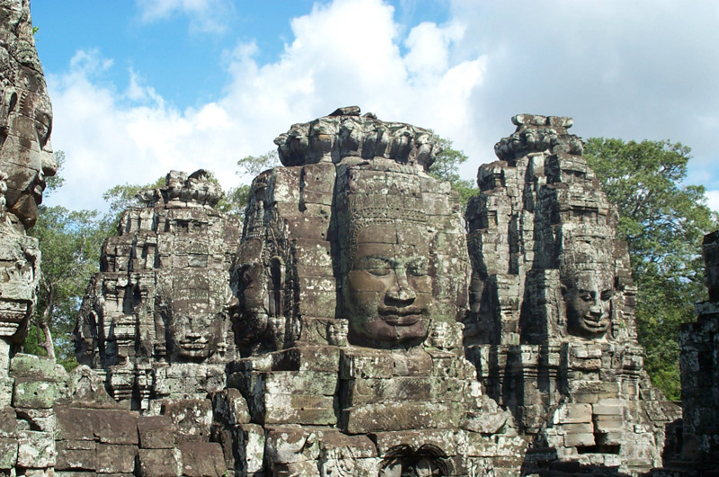 Buddha and/or Jayavarman VII faces in the Bayon temple at Angkor Thom