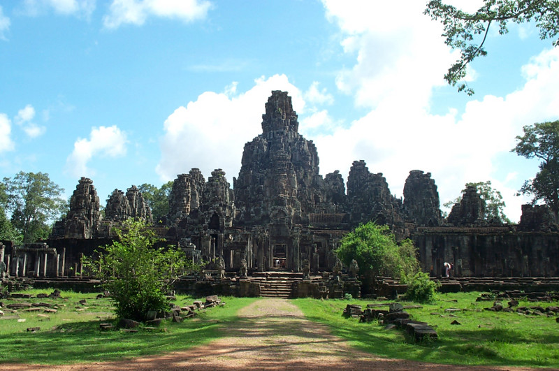 The Bayon temple at the center of Angkor Thom