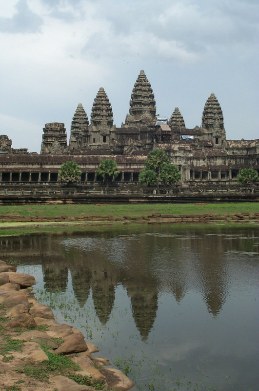 Angkor Wat reflected in a pool of water