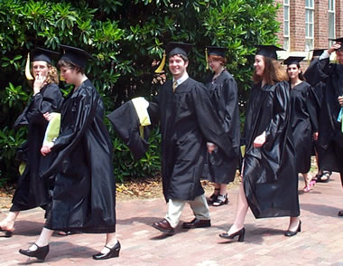 justin walking to graduation