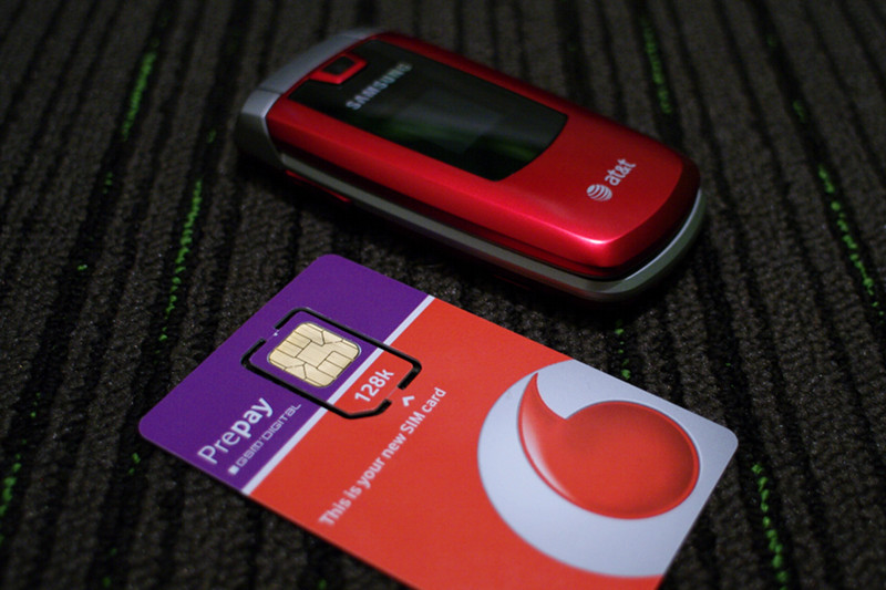 SIM card and cell phone