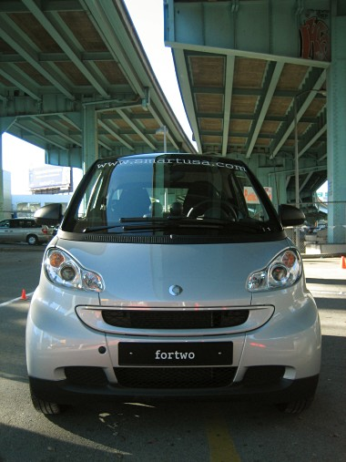 front view of a silver smart fortwo