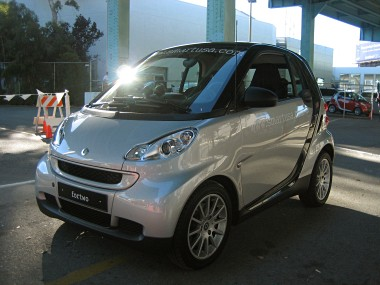 3/4 left view of a silver smart fortwo