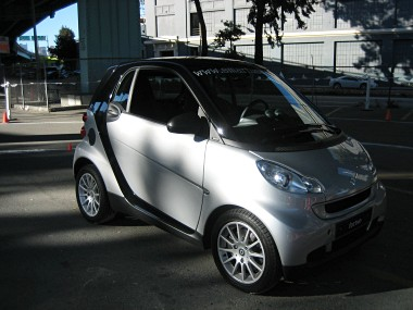 3/4 right view of a silver smart fortwo