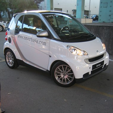 3/4 right view of a white smart fortwo