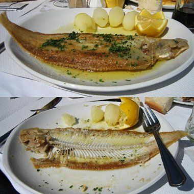 Sole meuniere, before and after