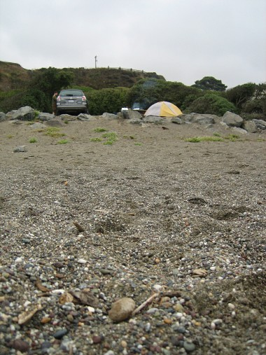 Campsite at Wright's Beach, as seen from the beach