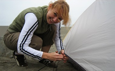Stephanie setting up the tent