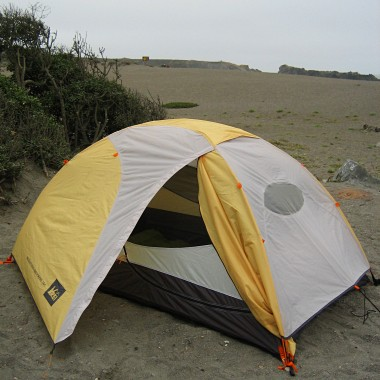 Tent all set up at Sonoma Coast's Wright's Beach campground