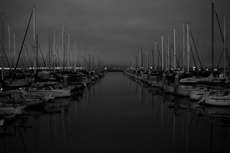 South Beach Harbor in San Francisco before dawn (black and white)