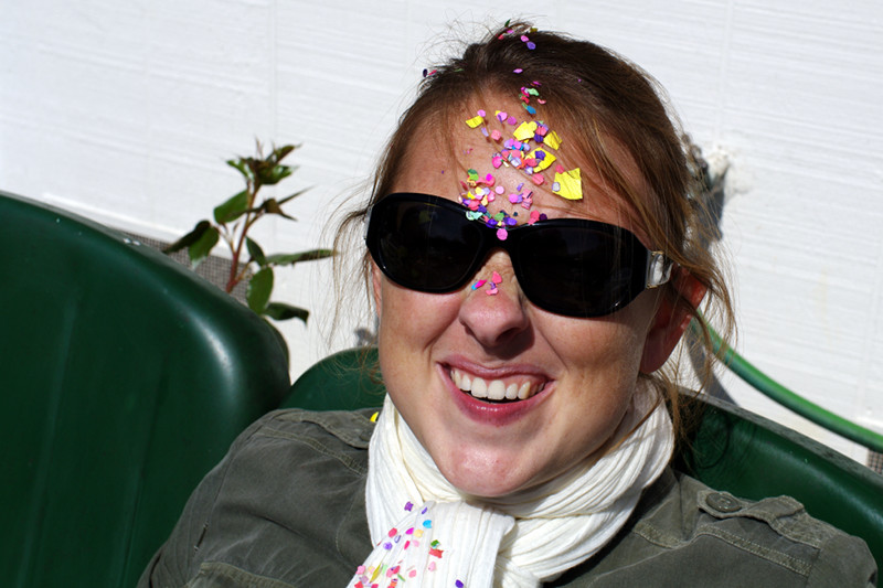 Stephanie with easter egg confetti on her forehead