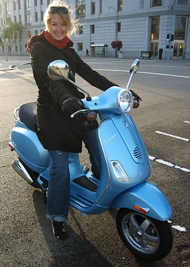 Stephanie on her blue beaut!
