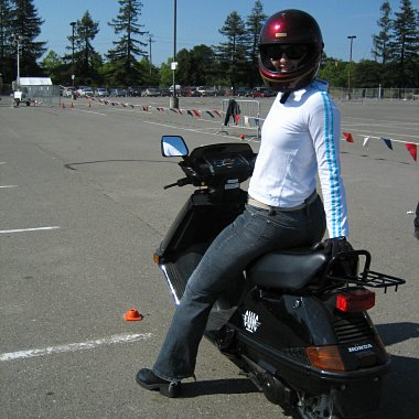 Stephanie on her Honda Elite