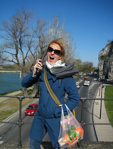 Stephanie on the Pont d'Avignon