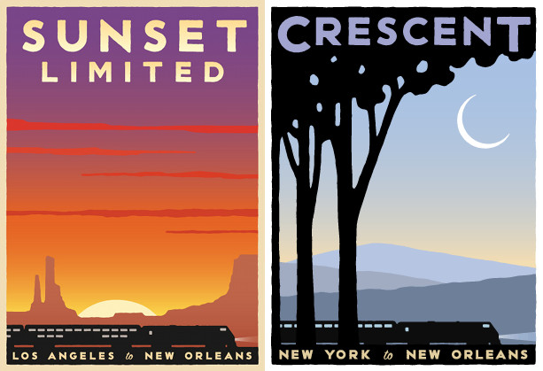 sunset limited and crescent amtrak posters