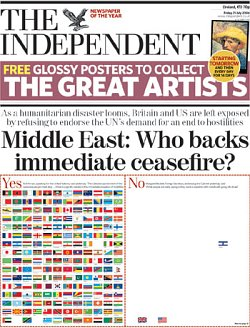 Front page of the The Independent, headline reads 'Middle East: Who backs immediate ceasefire?'