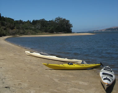 Kayaks on the shore of Tomales Bay