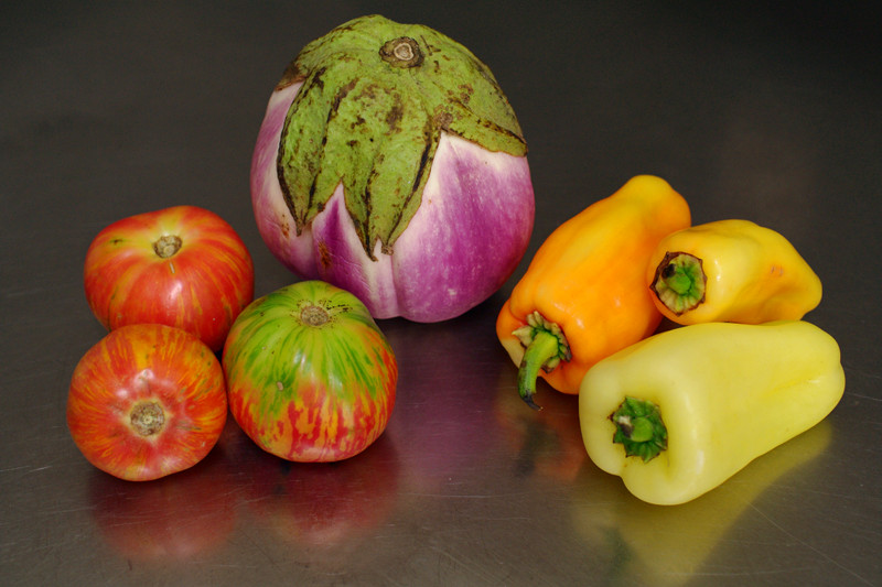 Heirloom tomatoes, rosa bianca eggplant (aubergine), and sweet peppers