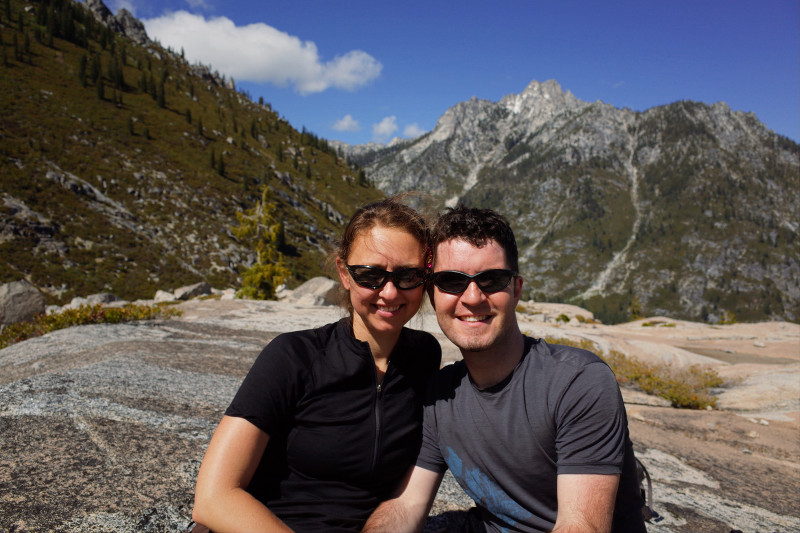 Stephanie and Justin at the Boulder Creek Lakes overlook in the Trinity Alps