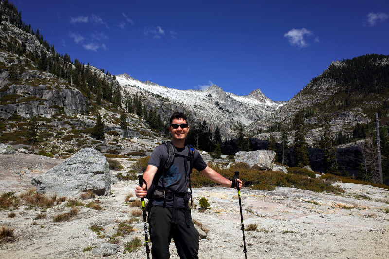 Justin posing in front of the Trinity Alps near Lower Canyon Lake