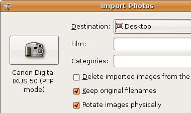 Photo importer in Ubuntu Feisty Fawn showing the new Rotate images physically checkbox
