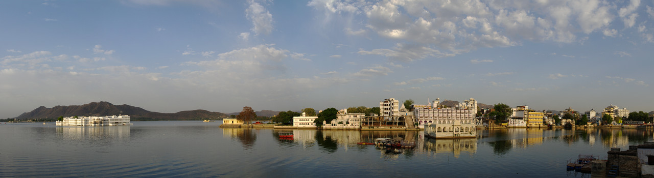 Panoramic view from our hotel room overlooking Lake Pichola in Udaipur, India