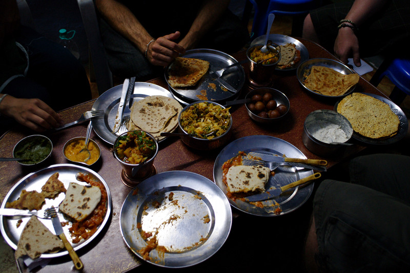Our feast after 5 hours of cooking with Shashi in Udaipur, India