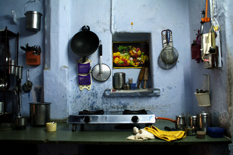 Shashi's humble cooking space in Udaipur, India