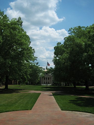 UNC Campus's Polk Place, looking towards Wilson Library